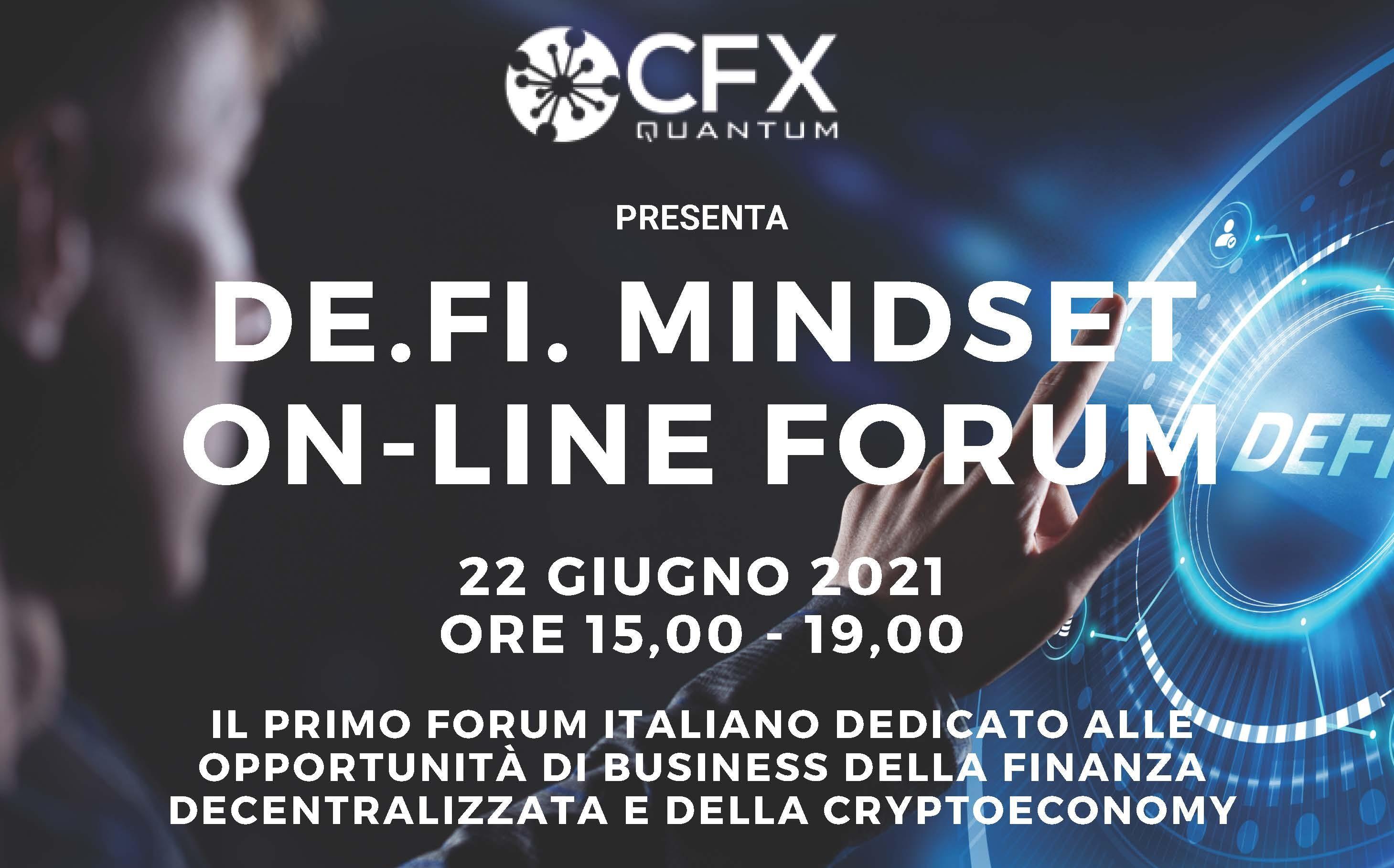 """Convegno su Finanza Decentralizzata:<br /> """"De.Fi. MINDSET FORUM"""""""