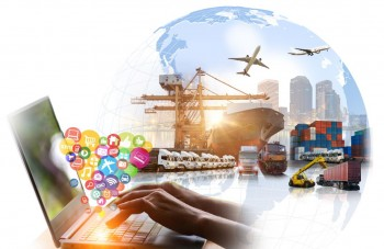 Social, media, Marketing and Internet of things (IOT) concept, Global business of Container Cargo freight train for Business logistics and Air cargo trucking, Rail transportation and maritime shipping