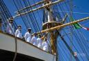 La nave scuola Amerigo Vespucci in sosta nel porto di Napoli