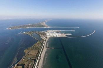 Lavori per il MO.S.E. Bocca di Malamocco, foto aerea, laguna di Venezia, 23-10-2012