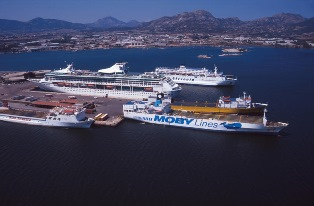 Sardinia, Olbia, aerial view of the harbour