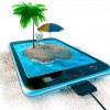 Digital tablet and sea beach as vacation concept